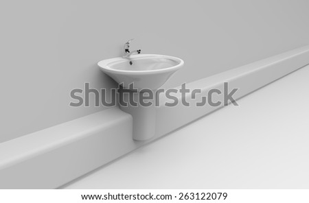 Ceramic sink with valve in bathroom - stock photo