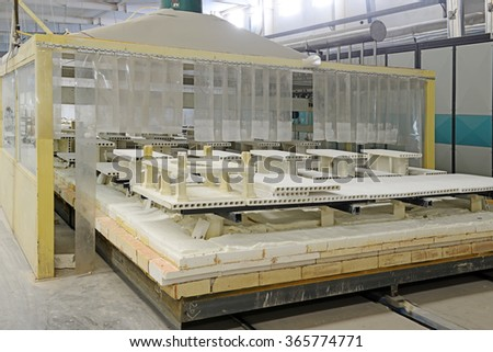 ceramic sintering workshop production line in a factory, closeup of photo