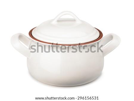 Ceramic soup pot isolated on white - stock photo