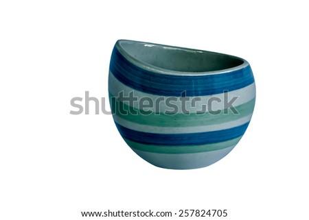 Ceramic sugar bowl  isolated on white background - stock photo