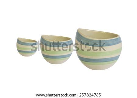 Ceramic sugar bowl set isolated on white background - stock photo