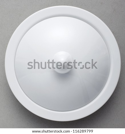 Ceramic Tableware on gray background - stock photo