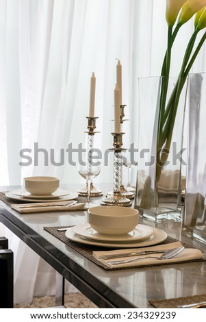 Ceramic tableware on the marble worktop