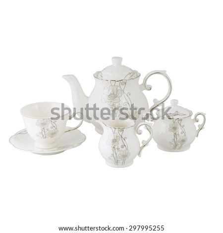 ceramic tea set isolated on white background - stock photo