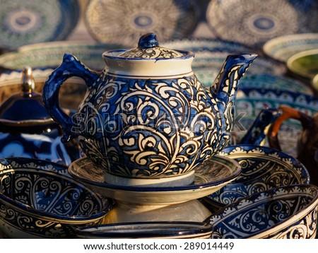 Ceramic teapot in Bukhara, Uzbekistan - stock photo