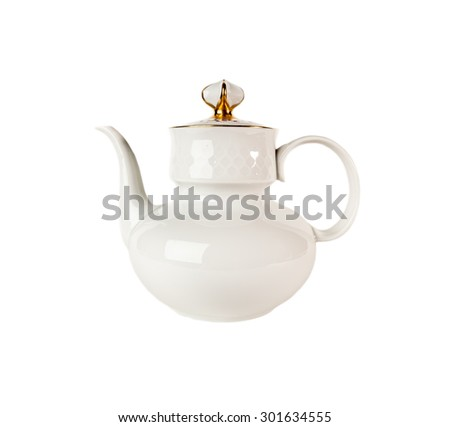 Ceramic teapot  in classic style isolated on white - stock photo