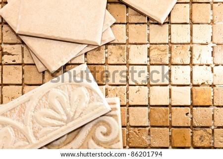 Ceramic tile and stone mosaics - stock photo