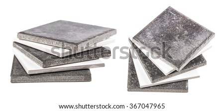 ceramic tile closeup isolated on a white background - stock photo