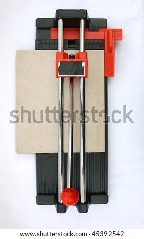 Ceramic tile cutter with tile.