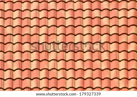 Ceramic tile roof texture background. - stock photo