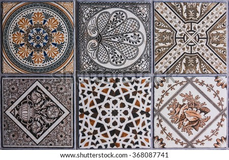 ceramic tile texture - design wall bathroom indoor outdoor handcraft pattern background - stock photo