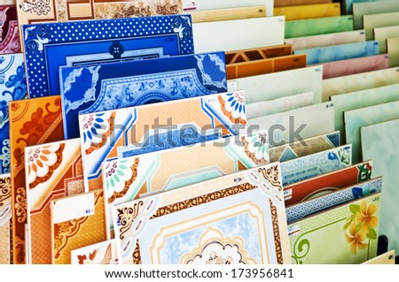 ceramic tile texture - sample stack background surface variety colorful smooth design material example  - stock photo