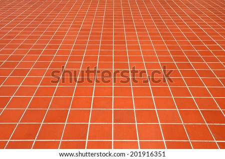 Ceramic tiled floor Red brick wall texture background  - stock photo