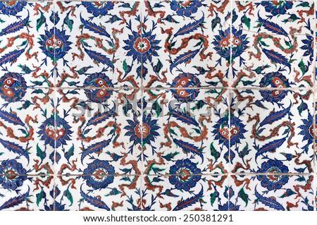 Ceramic tiles in Topkapi palace - stock photo