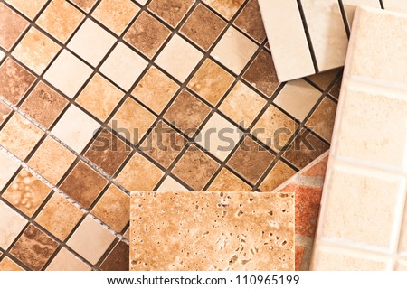 Ceramic tiles of different types, colors and shapes - stock photo