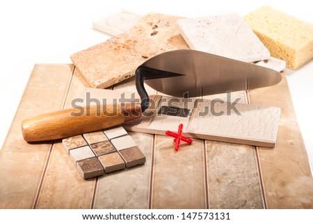 Ceramic tiles of different types of kitchen, bathroom on white background - stock photo
