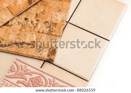 ceramic tiles of various types and forms - stock photo