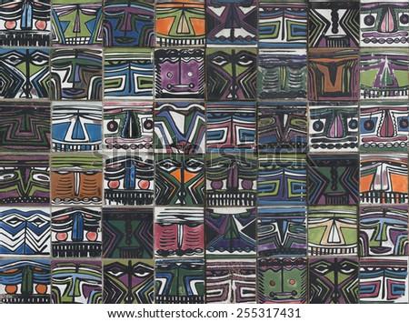 ceramic tiles patterns from Korea - stock photo