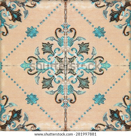 ceramic tiles patterns handicraft from thailand In the park public. - stock photo