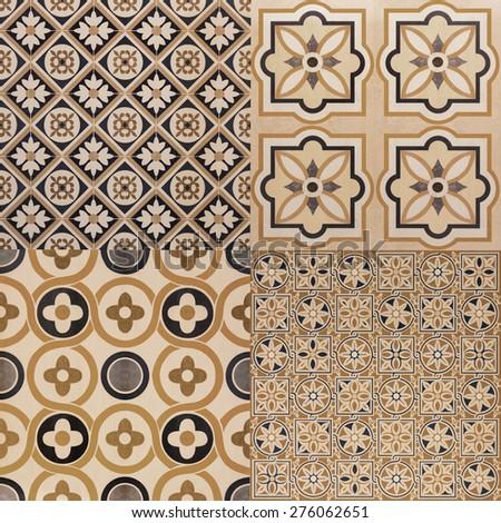 ceramic tiles patterns vintage soft focus - stock photo