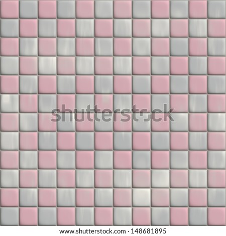 Perfect Seamless Pink Tiles Texture Background Kitchen Or Bathroom Concept