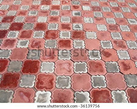 Ceramic tiles textured pattern background design - stock photo