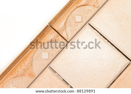 ceramic tiles with a cornice - stock photo