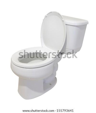 Ceramic toilet isolated on white background. - stock photo
