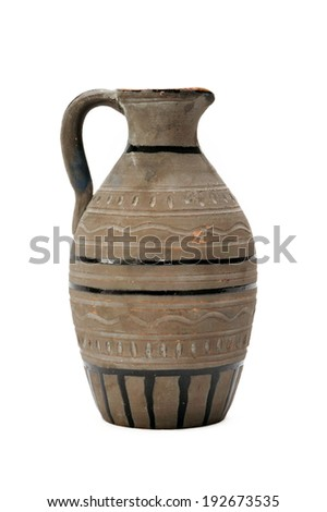 Ceramic vase  isolated on white background.  - stock photo