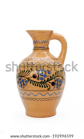 Ceramic vase on white background.  - stock photo