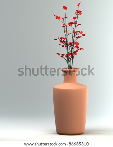 Ceramic vase with a flower on a light background a card. 3d illustration. high resolution - stock photo