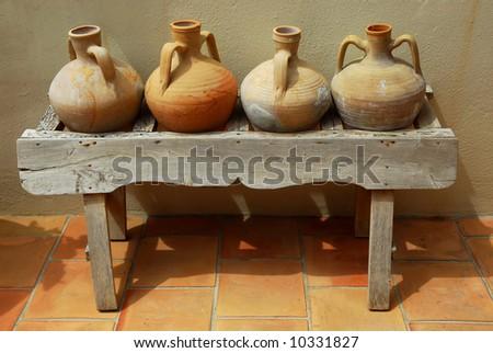 Ceramic vases amphoras as home decoration at mediterranean villa - stock photo