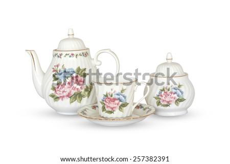 ceramic vintage tea pot isolated on white background - stock photo