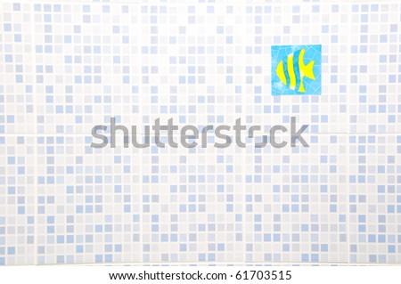 Ceramic Wall with fish sticker - stock photo
