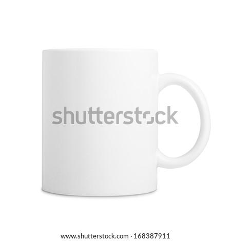 Ceramic white mug isolated on white background - stock photo