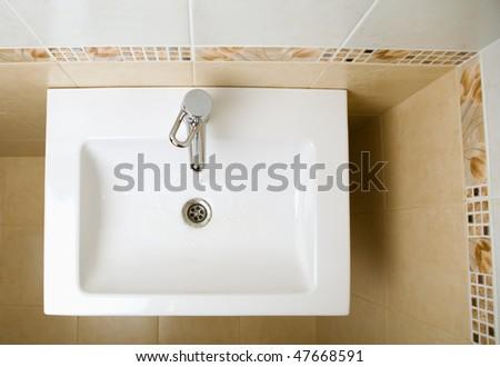 ceramic white washing sink - stock photo