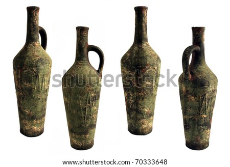 Ceramic wine bottle - stock photo