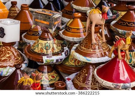 Ceramicl utensil on Moroccan market, tajines  - stock photo