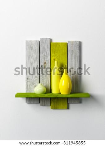 ceramics vases on the shelf, 3d rendering - stock photo