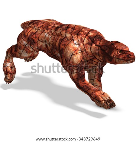 Cerberus - the dog from hell. 3D rendering with clipping path and shadow over white - stock photo