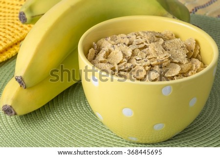 Cereal and bananas for breakfast - stock photo