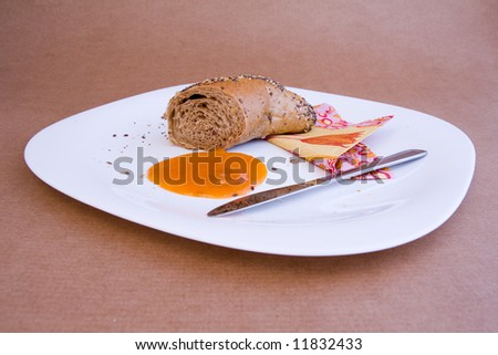 cereal bakery with marmalade breakfast setting - stock photo