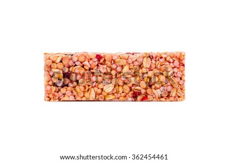 cereal bar, healthy muesli - isolated on white background - stock photo