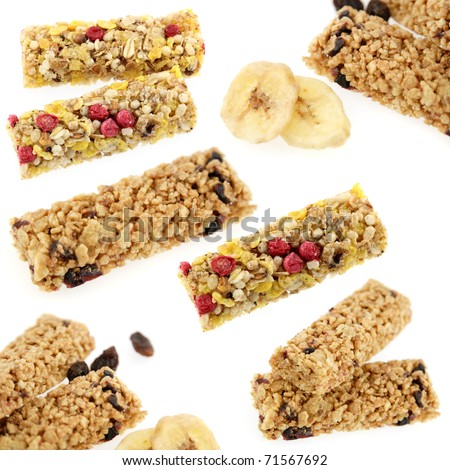 cereal bar set - stock photo