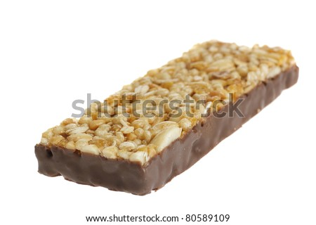 cereal bar with chocolate isolated on white background - stock photo