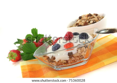 Cereal bowl with yogurt, fresh fruit, nuts and milk in front of white background - stock photo