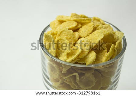 cereal cornflakes milk breakfast meal drink bowl - stock photo