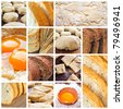 Cereal food collage with bread, dough and eggs - stock photo