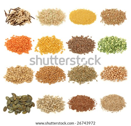 Cereal,grain and seeds collection isolated on white background - stock photo