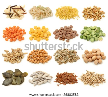 Cereal,grain and seeds collection isolated on white background. Macro shots
